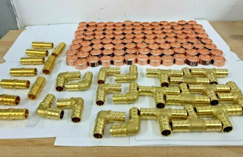 "(130 PCS) 1/2"" PEX CRIMP FITTINGS WITH COPPER CRIMP RINGS, BRASS PEX FITTINGS"