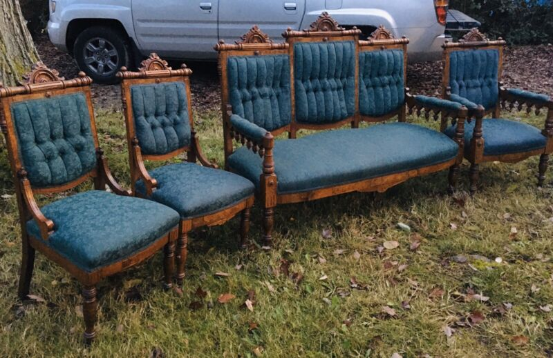 Antique 1800s 4 Pc Eastlake Victorian Parlor Suite Carved Ornate Settee Chairs