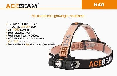 ACEBEAM H40 Cree XP-L LED Headlamp - 1050 Lumens, Light Weight for sale  Shipping to South Africa