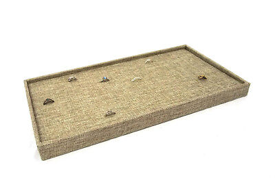 Burlap Covered Ringcuffling Storage Tray With 72 Ring Burlap Insert