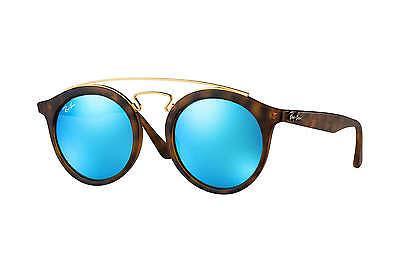 Ray Ban Tortoise Frame - Ray-Ban RB4256 Gatsby I 609255 Tortoise,Gold Frame/Blue Mirror Lens 49 mm