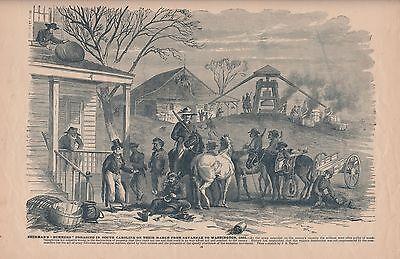 "Original Antique Civil War Print SHERMAN'S ""BUMMERS"" FORAGING South Carolina"
