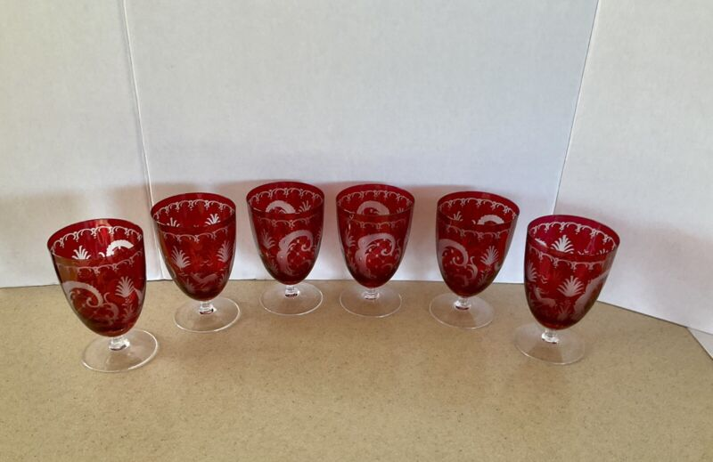 Lot Of 6 Egermann Ruby Cut To Clear Water Goblets