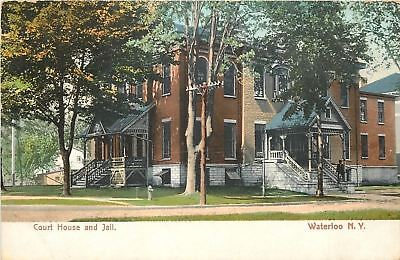 Waterloo New York~Court House And Jail~Man on Steps~1906 Postcard ()