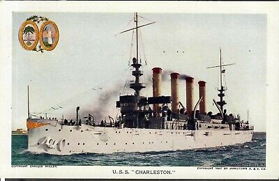 "1907 Jamestown Expo Postcard U.S.S. ""Charleston"""