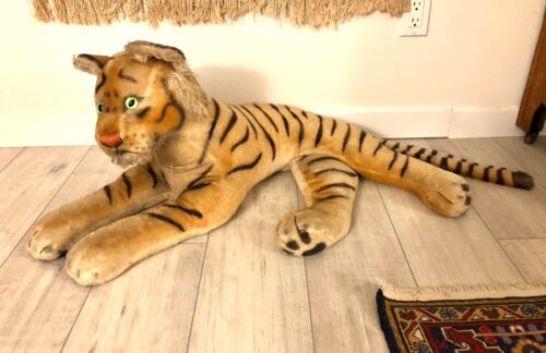 "Rare Vintage Steiff Tiger Extra-Large 49"" Including Tail Glow Green Glass Eyes 6"