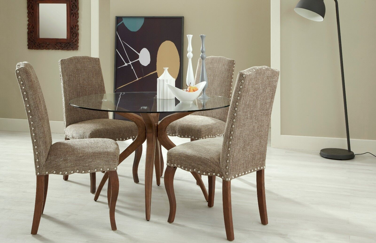 Bramford Round Glass Dining Table And 4 Solid Wood Chairs Quality