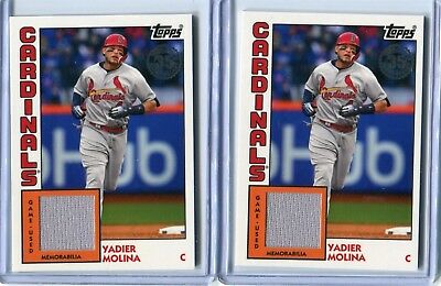 (2) 2019 Topps Series 1 Yadier Molina 1984 Anniversary Game Used Relics!!!!