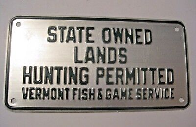 NOS RARE ORIGINAL VINTAGE 1940's FISH AND GAME HUNTING PERMITTED EMBOSSED SIGN