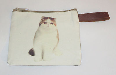 """Exotic Shorthair Cat Makeup Bag Leather Strap New Zippered 4"""" x 6"""" Kitten Kitty"""