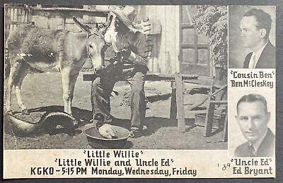 "Promotional postcard ""Little Willie & Uncle Ed"" KGKO radio Ft Worth/Dallas 1939"