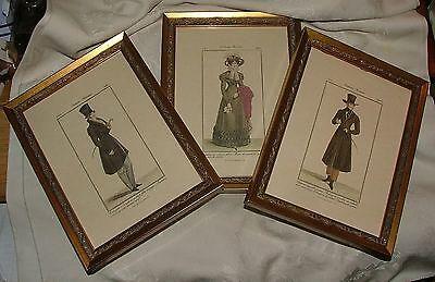 3 Vintage 1970-80s Framed Costume Prints 1821-23 Grafiche Tassotti Venice ITALY