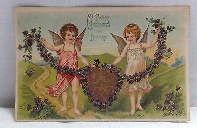AK Prägekarte zum Namenstag zwei Engel mit herzlichem Gruß gel. 1908