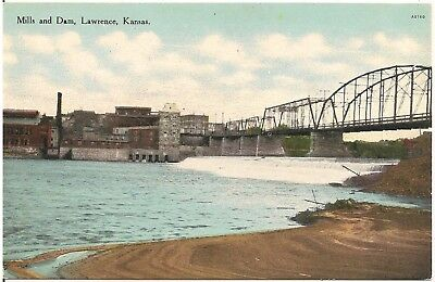 Mills and Dam in Lawrence KS Postcard