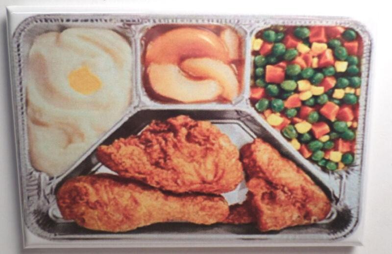 """Fried Chicken TV Dinner 2"""" x 3"""" Refrigerator Locker MAGNET Retro Swanson Food"""
