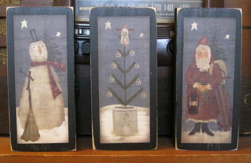 Santa Snowman Christmas Tree Farmhouse Primitive Wooden Shelf Sitter Blocks Set