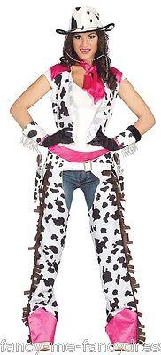 Donna Sexy Bianco Rosa Cowboy Girl Capitoli Wild West Costume Vestito 14-18