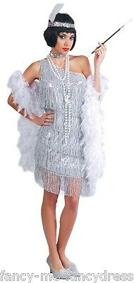 Damen Sexy Silber 1920er Jahre Flapper Gatsby Kostüm Kleid Outfit UK - Sexy Silber Flapper Kostüm