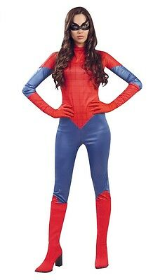 Ladies Spider Superhero Halloween Comic Book Fancy Dress Costume Outfit UK 12-14