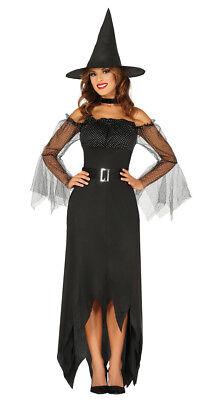Damen Böse Hexe Kostüm & Hut Schwarze Lange Sexy Halloween Kostüm (Böse Hexe Sexy Kostüm)