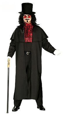 Herren Viktorianisches Kostüm Umhang & Zylinder Dracula Halloween Outfit 42-44