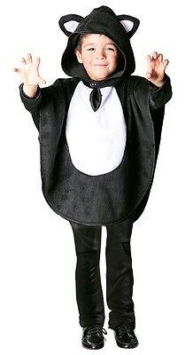 Jungen Mädchen Schwarze Katze Animal Halloween Kapuze Cape Kostüm Kleid Outfit