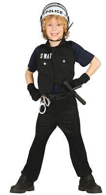 S.W.A.T. Polizist - Kostüm für Kinder Karneval Fasching - Kind Swat Polizei Kostüme