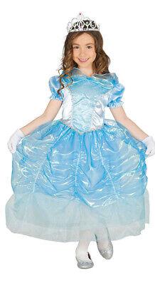 Prinzessin Kostüm für Mädchen Karneval Märchen Eis blau Königin Ball Kleid Gr. 9