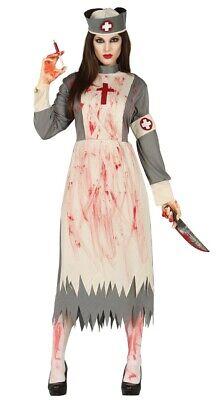 Ladies Dead Zombie Victorian Nurse Costume Ghost Womens Halloween Fancy Dress (Dead Nurse Costume)
