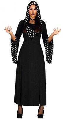 schwarzes Kleid mit Totenköpfen Damenkostüm Halloween Kostüm Totenkopf Kleid Gr.