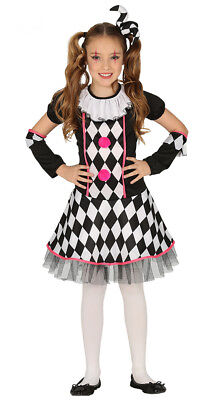 Girls Clown Costume Circus Harlequin Halloween Fancy Dress Outfit & Hat Age 4-12 (Halloween Costumes For Girls Age 4)