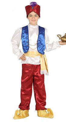 Genie Kids Costume (Boys Kids Aladdin Costume Fancy Dress Up Genie Outfit Arabian Nights Age)