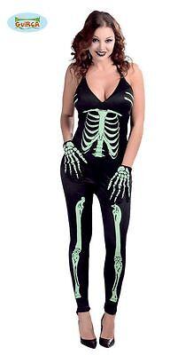 Costume Scheletro Donna Halloween Carnevale Tuta Sexy Ossa Fluò NO GUANTI