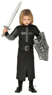 Boys Kids Black Knight Costume with Sword & Shield Fancy Dress Medieval Age 4-12