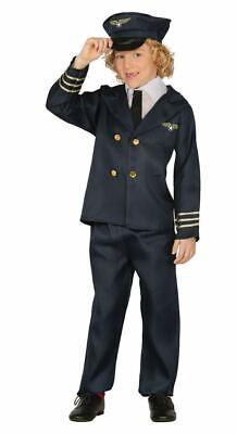 Boys Pilot Uniform Aviator Captain Fancy Dress Costume Kids Occupation Outfit