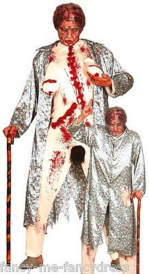 Mens Zombie Flasher Granny Halloween Stag Do Fancy Dress Costume Outfit (Halloween Flasher Kostüm)