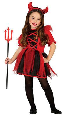 rotes Teufel Kleid für Mädchen Halloween Kostüm Kinder Teufelkostüm Gr. 98-146