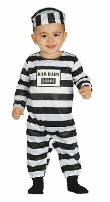 Toddler Inmate Costume (Toddlers Babies Prisoner Convict Cellmate Inmate Fancy Dress Costume)