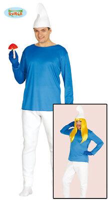 Costume vestito Puffo, puffi adulto Halloween,Carnevale g80425