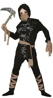 Jungen Skelett Ninja Halloween Samurai Büchertag Kostüm Kleid Outfit ()