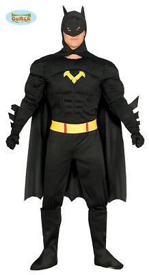 Guirca Schwarzer Superheld Karneval Fasching Kostüm für Herren - Schwarz Superheld Kostüme
