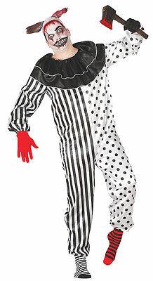 Killer Clown Overall Twisty Halloween Kostüm Maskenkostüm Schwarz & Weiß (Halloween Kostüm Weiße Overalls)