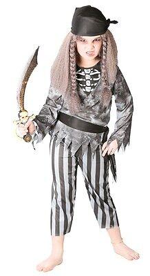 Mädchen Jungen Geisterpirat Zombie Halloween Skelett Kostüm Kleid Outfit