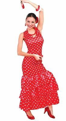 Womens Red Spanish Flamenco Dancer National Dress Fancy Dress Costume (National Fancy Dress Kostüm)
