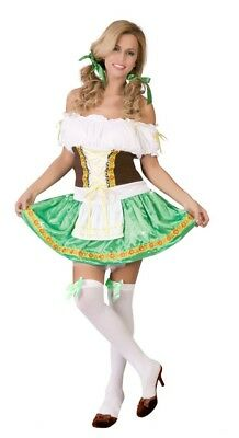 Green Oktoberfest Costume Beer Girl Wench Fancy Dress German Bavarian Outfit - German Girl Outfits