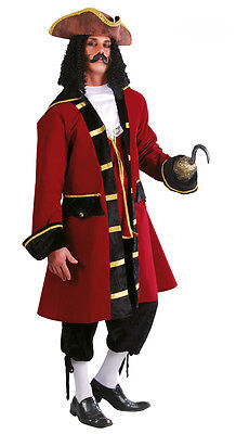 Mens Captain Hook Costume Peter Pan Fancy Dress Pirate Outfit 38-44 NEW Deluxe - Deluxe Captain Hook Costume