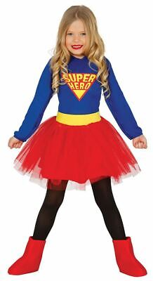 Girls Childrens Superhero Supergirl Fancy Dress Costume Book Day Outfit - Supergirl Childrens Costume