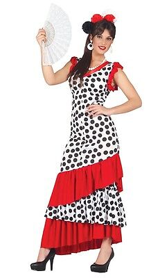 Ladies Sexy Spanish Flamenco Dancer Around the World Fancy Dress Costume Outfit (Costumes Around The World)
