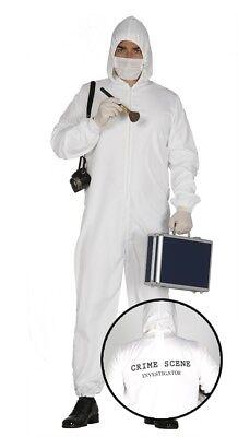 Mens CSI Costume Crime Scene Investigator Forensic Scientist Hazmat Fancy Dress
