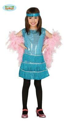 blaues Charleston Kleid Karneval 20er Jahre Motto Party Kostüm Mädchen Gr. 110-1